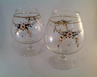 Vintage hand painted floral motif wedding goblets