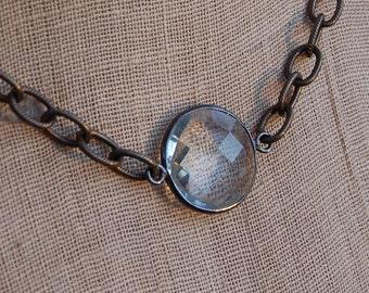 Crystal Quartz in Gunmetal Bezel on Bronze Chain