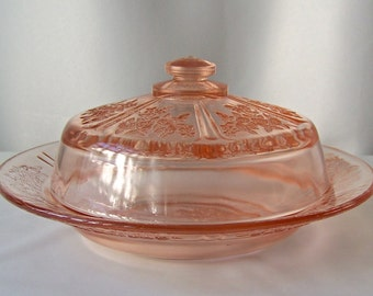 Vintage Butter Dish Pink Depression Glass Reproduction Incised Rose Pattern Butter Dish 1970s
