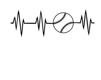 Baseball Heartbeat SVG, DXF, JPG, or Silhouette Instant Download