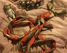 FAB Antique Vintage 1920's Flapper Dress Accent Ribbon Coral Peach Silk Gold Metallic Bow Sash N131