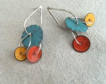 Calder Enamel Earrings in Aqua, Orange and yellow