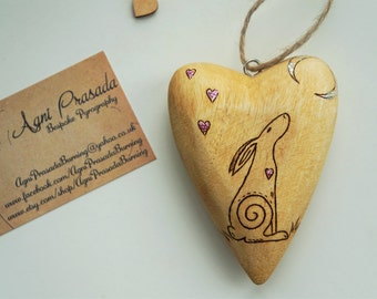Moon Gazing Hare - Pyrography on solid wood heart with personalisation and glitter