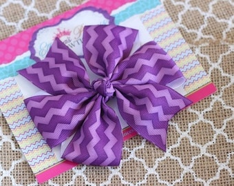Baby Bows, Toddler Bows, Girls Hair Bows, Boutique Hair Bows, Hair Clips, Chevron Purple Hair Bow Headband, Pinwheel Hair Bow, 4 Inch Bows