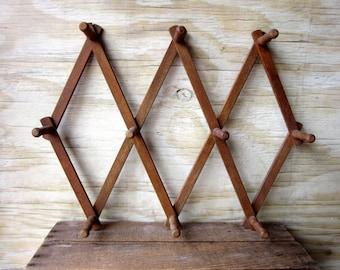 Vintage Extra Tall Accordian Peg Rack