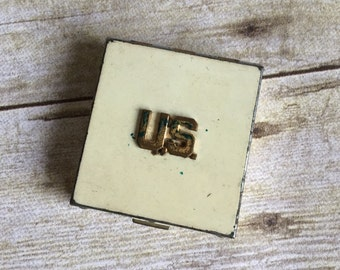 Vintage Metal Pill Box - Jewelry Box - U.S. - Powder Case