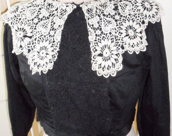 Victorian bodice top - black cotton with boning, frog work and lace collar.