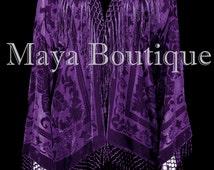 Dark Purple Kimono Fringe Jacket SILK Burnout Velvet Short Maya Matazaro Plus Size 3X-5X