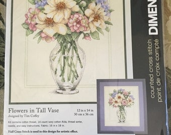 "Dimensions ""Flowers in Tall Vase"" counted cross stitch kit"
