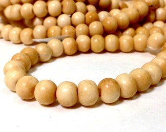 Large Hole Natural Color Cow Bone Round Beads 8 x 10 mm - 2.8 mm hole 13 Inches strand (MJ1801W40)