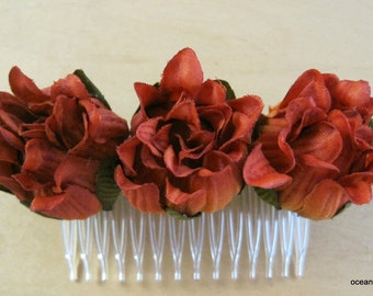 Triple Variegated Burnt Orange Dahlia Bud Poly Silk Flower Hair Comb