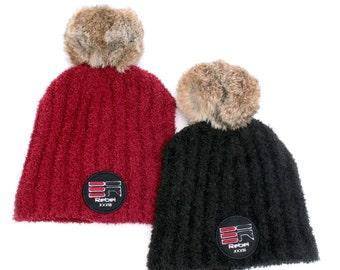 Rebel Behavior streetwear #Rebel33 Fleece Beanies with Fur pom pom