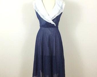 Vintage 70s Sheer Polka Dot Navy Day Dress, Size Medium