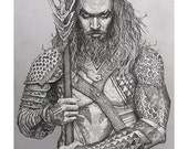 Lord of the Sea Giclee print of pencil drawing