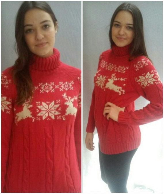 Cotton Sweater Reindeer / Fair Isle Sweater / LANDS END / Turtleneck, Ski Sweater, Cotton