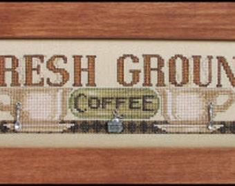 Fresh Ground - Cross Stitch Pattern - Hinzeit Coffee Counted Cross Stitch Pattern Chart - Coffee Cups Cross Stitch - Coffee Cross Stitch