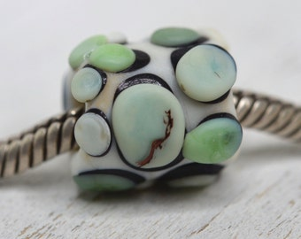 NEW! large hole tube pebble lampwork bead, SRA handmade, matte finish in mixed greens and ivory for charm bracelet  P70516-7