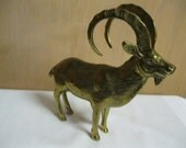 Brass Mountain Goat Brass Statue Home-Office-Cabin Decor Art Large Figurine Great Patina or Polish to Shine if You Like Retro to New Again