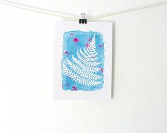 Fern print, Botanical art, Nature prints, Plant prints, Colorful wall art, Woodland art, Nursery wall decor, Kids art, Block print art