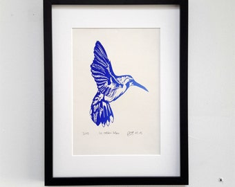 The blue flying hummingbird, original linocut print, signed and numbered, blue, unframed