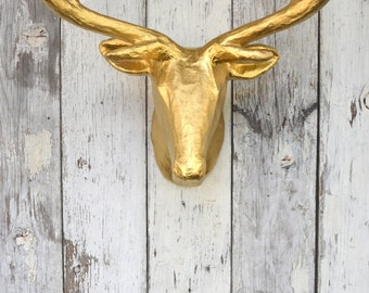 Gold Deer Head  Antlers Wall mount Faux Taxidermy 4 point Wall decor