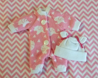 """4 Pc Elephant Sleeper Set  For 5-6"""", 6-7"""", 7-8"""", 8-9"""", 9-10"""" or 11-12""""  Mini dolls, you pick color and size. Doll Clothes"""