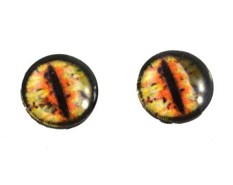 10mm Orange and Yellow Dragon Glass Eyes Taxidermy Cabochons - Fantasy Eyes for Jewelry Making or Sculptures - Set of 2