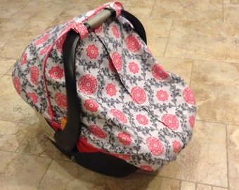 Car Seat Canopy // Fitted Canopy // Unlined // Lined with cotton or minky fabric // Choose style