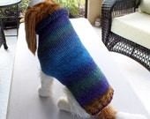 "Dog Coat Hand Knit NORO Ocean Medium 16"" inches long Merino Wool"