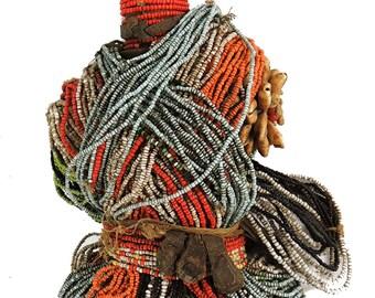 Fali Beaded Fertility Doll Cowrie Shells Cameroon African Art 93320