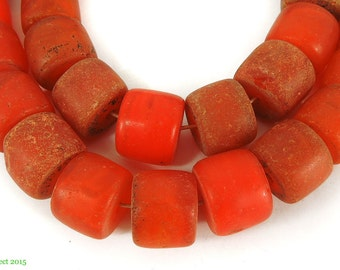 Red Trade Beads Large Flat Ended Africa 97063