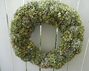Hydrangea Wreath   Natural Wreath  Dried Wreath  Wedding Wreath  Shabby Chic  Cottage Wreath   Home Decor  Garden Wreath Dried Hydrangeas