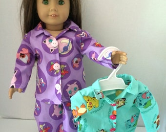 "Pokemon Pajamas in two different colors (purple or green) for 18"" American girl doll"