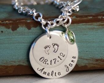Mommy Toggle Bracelet / Personalized Sterling Silver Charm Bracelet / My Baby Info
