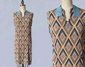 1920s Dress / 20s Art Deco Diamond Geometric Print Day Dress