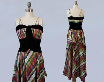 1930s Dress / 30s PLAID Taffeta Maxi Dress / Silk Velvet Accents / Party Dress