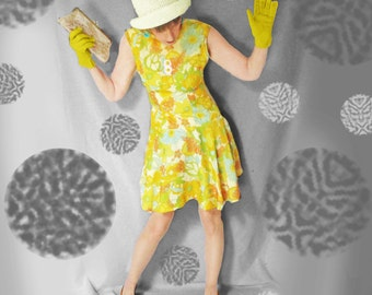 Vintage Mod Dress - 60s Sleeveless Psychedelic Floral Dress - 1960s Yellow Floral