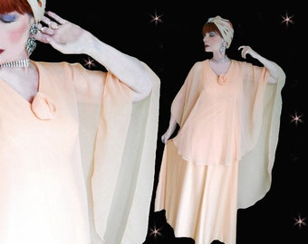 Kaftan Formal - 70s Formal Gown - Attached Cape - Mother of Bride - Mother of Groom - Vintage Spring Gown - 70s Retro Formal Chiffon Caftan