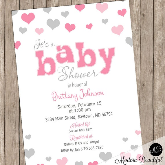 Pink And Gray Baby Shower Invitation Heart Baby Shower Invitation