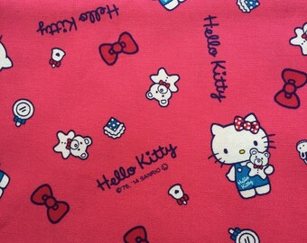 One yard Hello kitty cotton fabric red pink colour