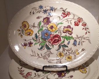 Vernon Kilns May Flower Oval Platter