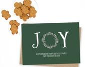 Joy Holiday Card - Customizable - Quantity 25-125 with matching envelopes