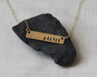 Badass Necklace - Inappropriate - Bad Word Jewelry - Gold or Silver