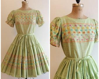 1950s Square Dance Dress 50s Green Patio Western Wear
