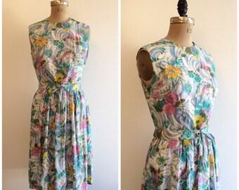1960s Sundress 60s Floral Rose Dress
