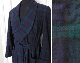 Mens 1950s Plaid Robe -- Black Watch Plaid Abercrombie Fitch -- Viyella Fabric Woven in England Medium Large