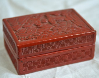 Antique Chinese Red Cinnabar Lacquer Carved Box Trinket Box Jewelry Box