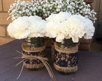 Mason Jar Wrap, Navy Blue Lace & Burlap, Mason Jar Decoration, Baby Shower, Party,  Wedding Decoration