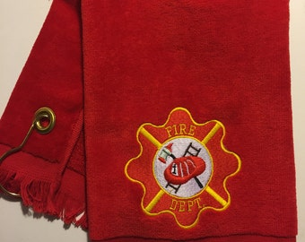 Firefighter personalized golf or sports towel