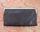 Vintage dark brown leather double snap wallet clutch holds a lot!